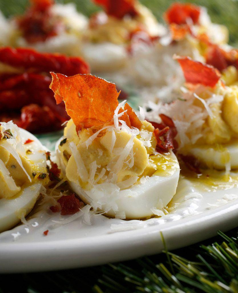 Baked Prosciutto Deviled Eggs