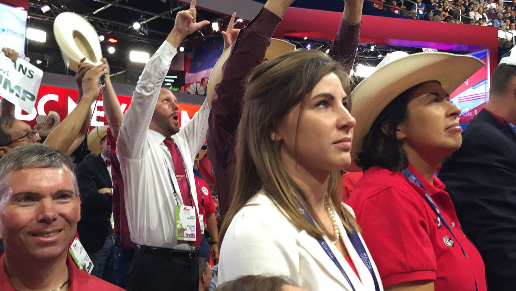 Rachel Chupik (left) and Laura Koerner watched as Texas Republicans cast votes for Donald Trump during the Republican National Convention last week. The women were both delegates for Sen. Ted Cruz.
