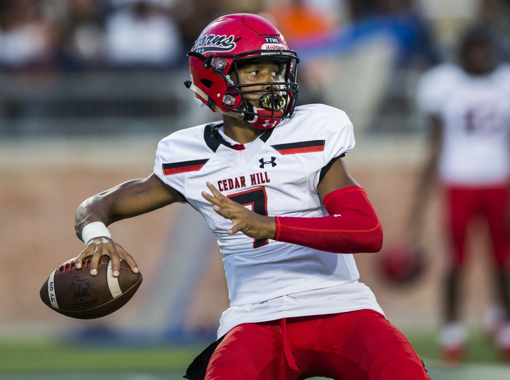 Cedar Hill quarterback Kaidon Salter (7) looks for a receiver during the second quarter of a high school football game between Allen and Cedar Hill on Friday, August 30, 2019 at Eagle Stadium in Allen. (Ashley Landis/The Dallas Morning News)