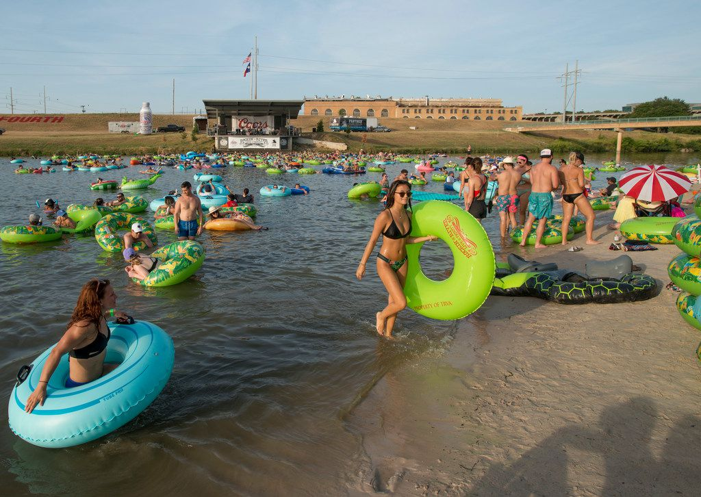 The Trinity River on the cusp of downtown Fort Worth is packed with tubers during Rockin'€™ the River at Panther Island Pavilion on Saturday July 21, 2018 in Fort Worth. The weekly event features free parking and free waterfront concerts for six Saturdays during the summer.