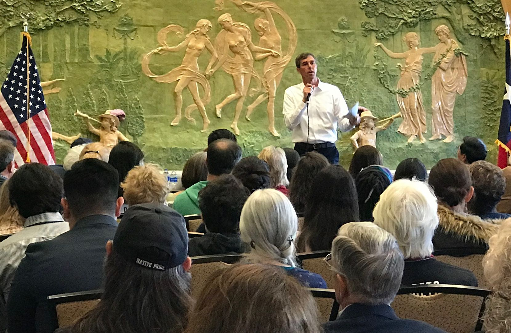 Rep. Beto O'Rourke, D-El Paso, speaks Monday at a town-hall style gathering in his home town, where he began to publicly shift away from his vow not to run for President of the United States.