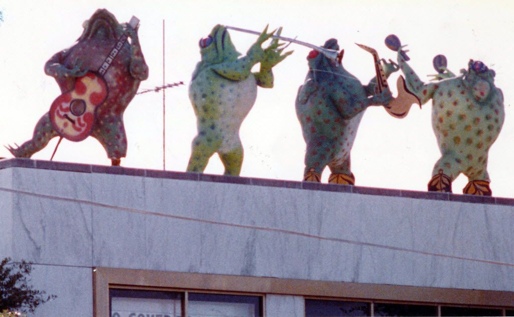 The Tango frogs on the roof of Tango nightclub in Lower Greenville in 1984.