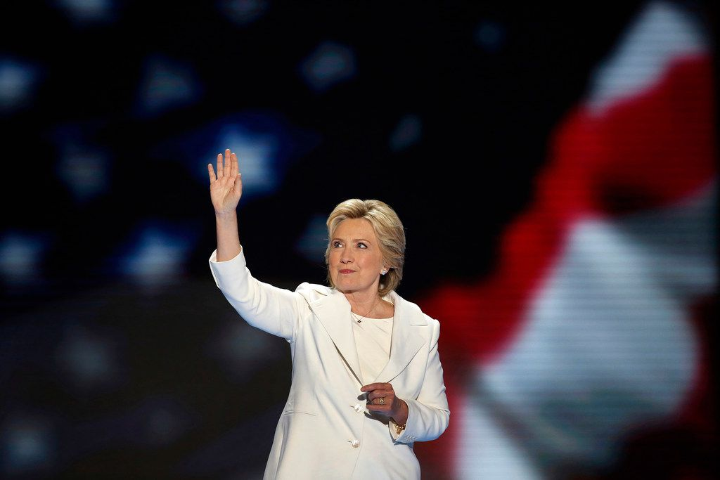 Hillary Clinton becomes the first woman to win the nomination for president from a major party in the United States on the final night of the Democratic National Convention at the Wells Fargo Center in Philadelphia on Thursday, July 28, 2016. The State Board of Education in Texas voted Friday to remove Hillary Clinton and Helen Keller, as well as other historical figures, from the curriculum.  (Carolyn Cole/Los Angeles Times/TNS)