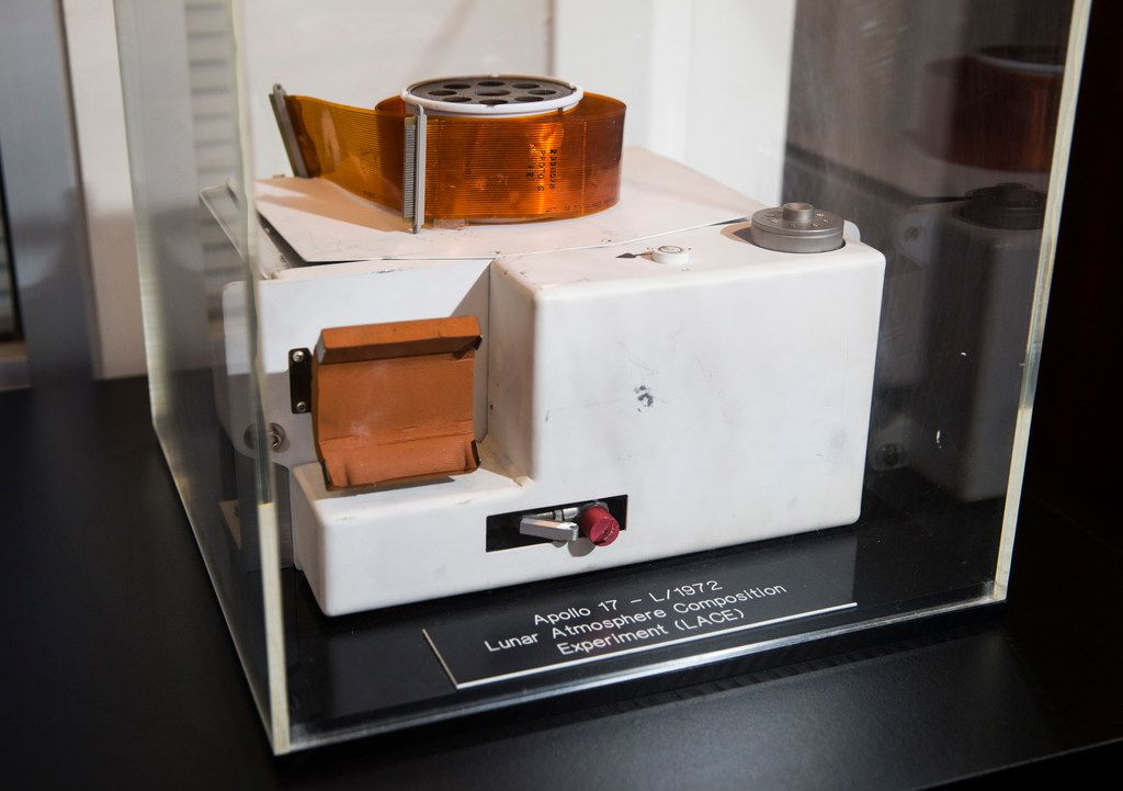 An instrument that detected the lunar atmosphere during the Apollo 17 mission is on display in the physics building on the UTD campus in Richardson.