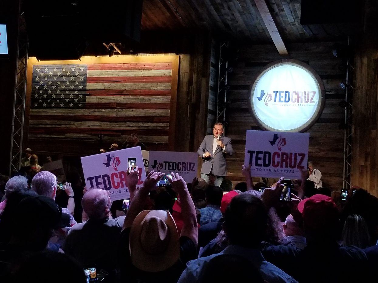 Sen. Ted Cruz campaigns at the Redneck Country Club in Stafford, Texas, on Nov. 5, 2018, at the final rally of his reelection campaign