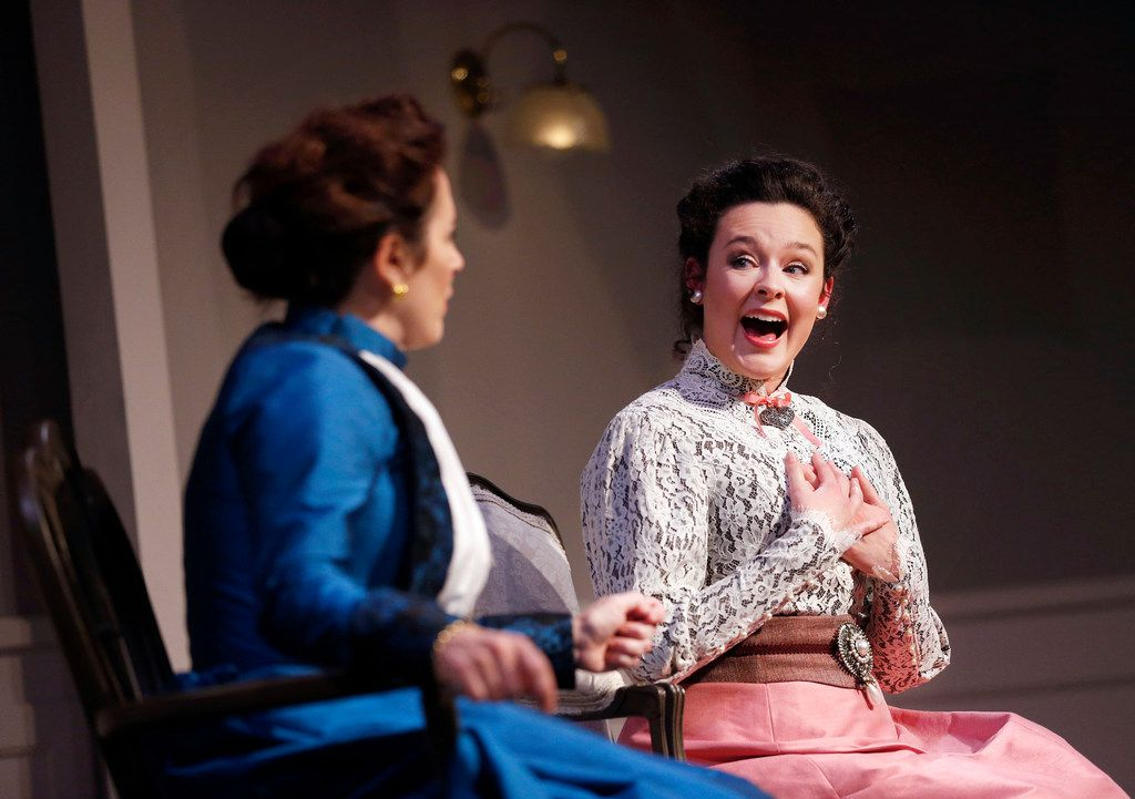 Shannon J. McGrann as Nora (left) and Amber Marie Flores as her daughter Emmy in A Doll's House, Part 2 at Stage West in Fort Worth.