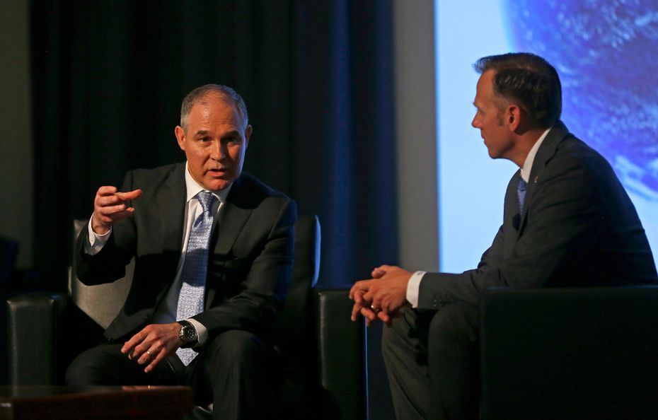 Certainty and a long-term view are key to environmental success, EPA chief Scott Pruitt (left) told Texas Railroad Commissioner Ryan Sitton. A smattering of protesters weren't buying it.