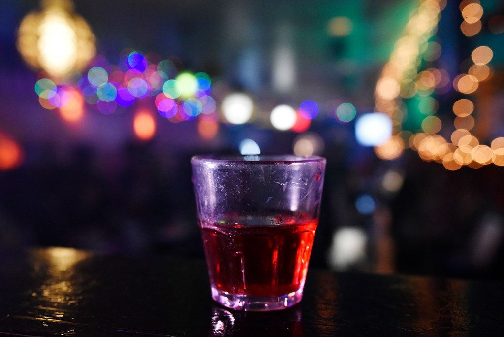 Ooooh yea shots, made with vodka, melon, amaretto and cranberry, served at the Drunken Clam, Thursday night Jan. 10, 2019 in Dallas. Drunken Clam is themed after the bar in Family Guy. Ben Torres/Special Contributor