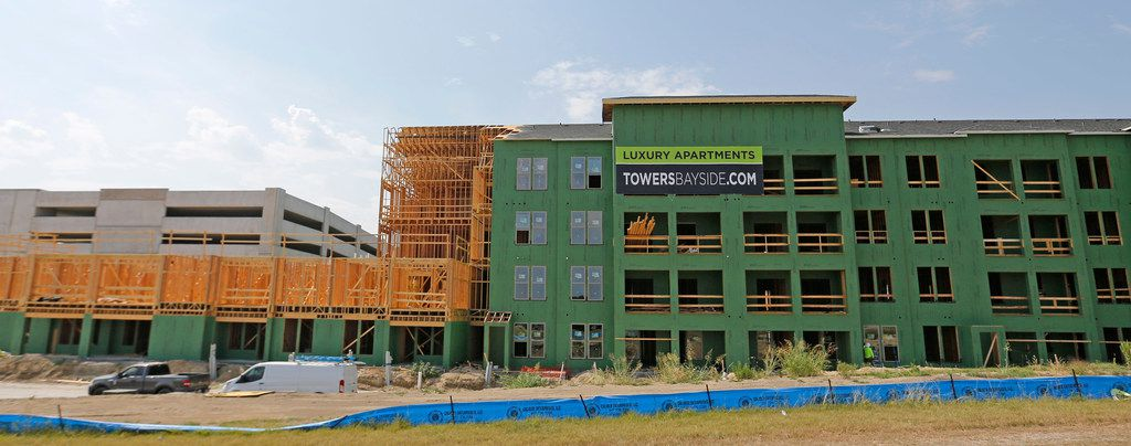 Construction continues on the Bayside development on the former Robertson Park in Rowlett