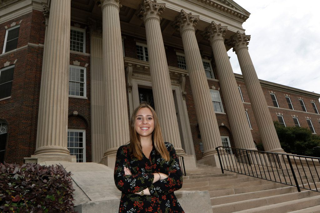 SMU student Claire Krizman, 20, poses for a portrait in front of Dallas Hall at SMU on Friday, April 15, 2017. She started a GoFundMe account two weeks ago that has raised nearly $5,000, which she plans to donate to Planned Parenthood of Greater Texas. (David Woo/The Dallas Morning News)