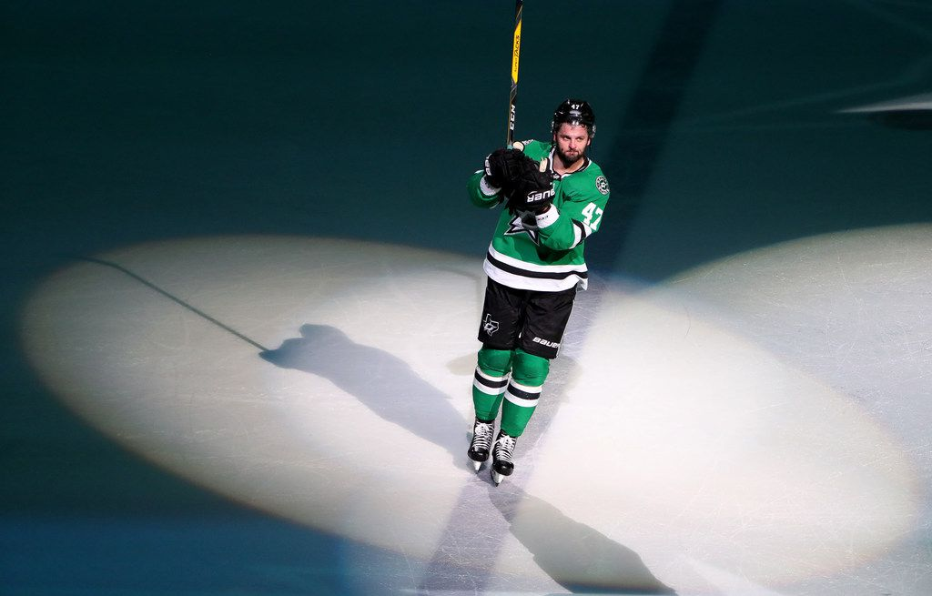 DALLAS, TEXAS - MARCH 07: Alexander Radulov #47 of the Dallas Stars is recognized as the player of the game after scoring a hat trick in the third period against the Colorado Avalanche at American Airlines Center on March 07, 2019 in Dallas, Texas. (Photo by Tom Pennington/Getty Images)