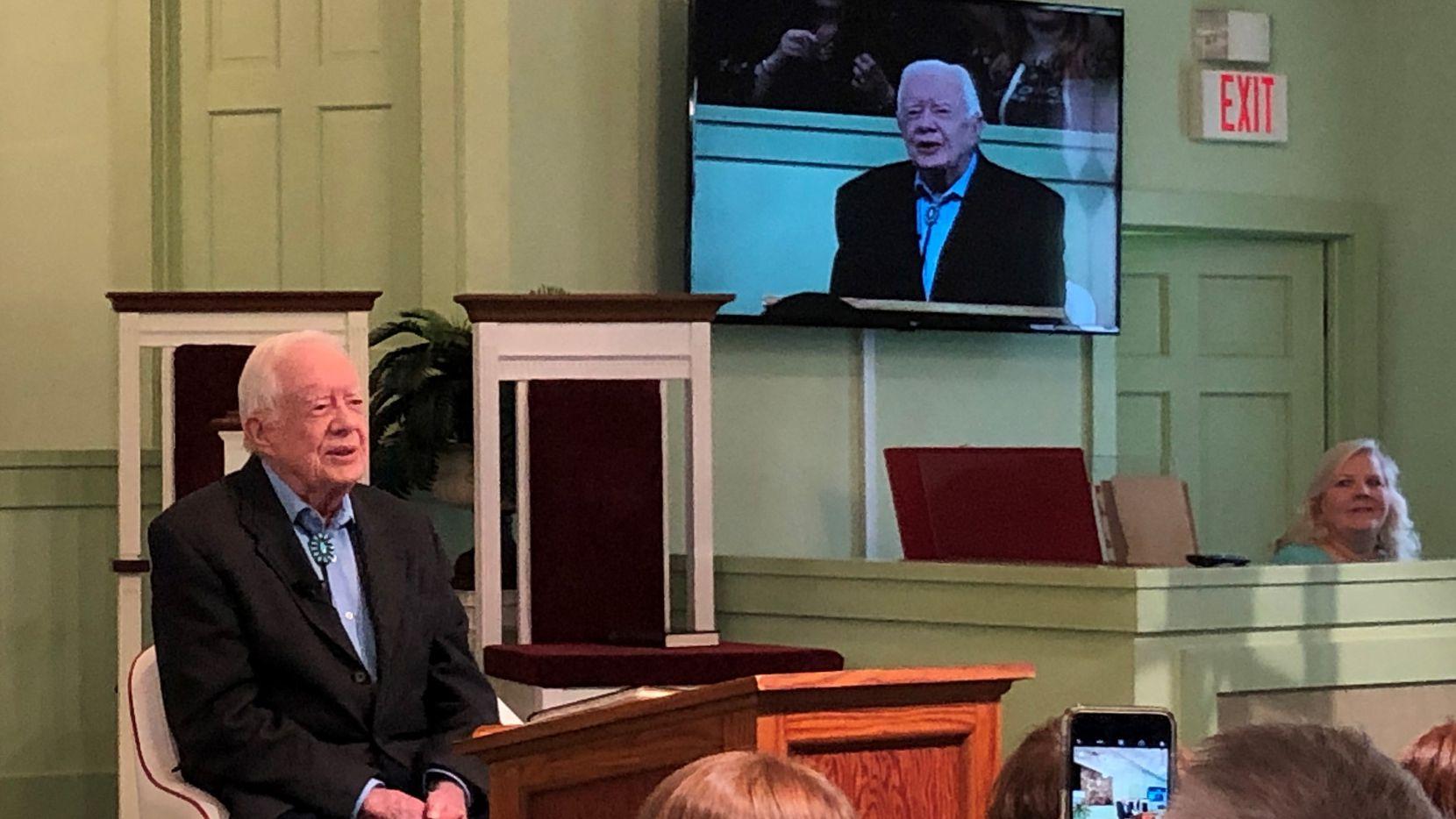 President Jimmy Carter teaches Sunday school at Maranatha Baptist Church in Plains, Ga., twice a month.