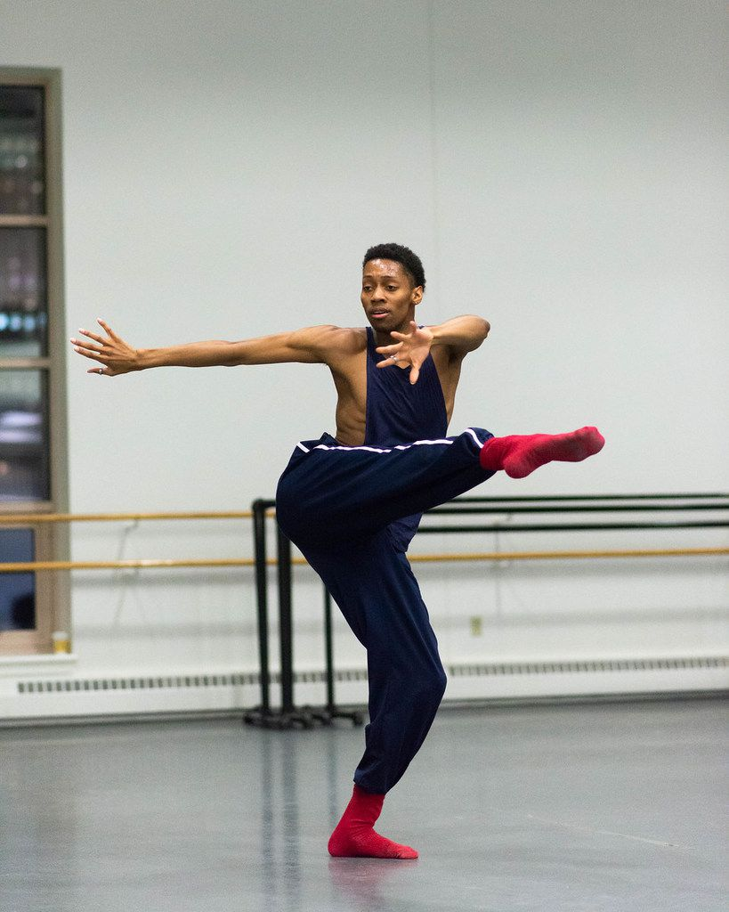 My'Kal Stromile rehearses with Boston Ballet II.