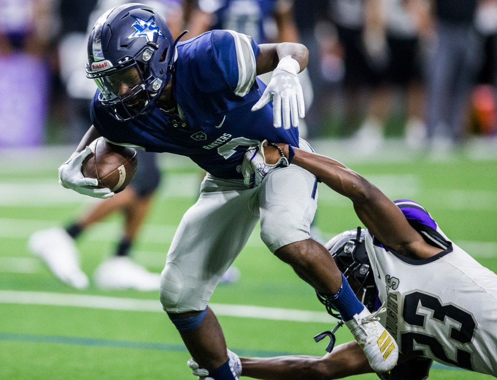 Frisco Lone Star wide receiver Jake Bogdon (2) is tackled by Frisco Independence defensive back K.J. Price (23) during the second quarter of a District 5-5A Division I high school football game between Frisco Independence and Frisco Lone Star on Thursday, October 10, 2019 at the Ford Center at The Star in Frisco. (Ashley Landis/The Dallas Morning News)