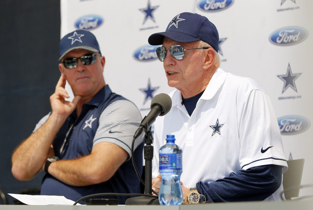 Owner Jerry Jones, Chief Operating Officer / Executive Vice President Stephen Jones and head coach Jason Garrett deliver the Dallas Cowboys State of the Union address to open this years training camp in Oxnard, California, Friday, July 29, 2016. (Tom Fox/The Dallas Morning News)