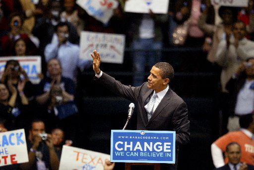 Democratic presidential candidate Barack Obama speaks at a rally at Reunion Arena in Dallas, TX on February 20, 2008.