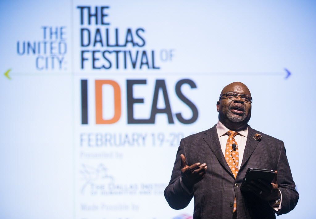 Bishop T.D. Jakes delivers closing remarks during The Dallas Festival of Ideas on Feb. 20, 2016, at Fair Park in Dallas.