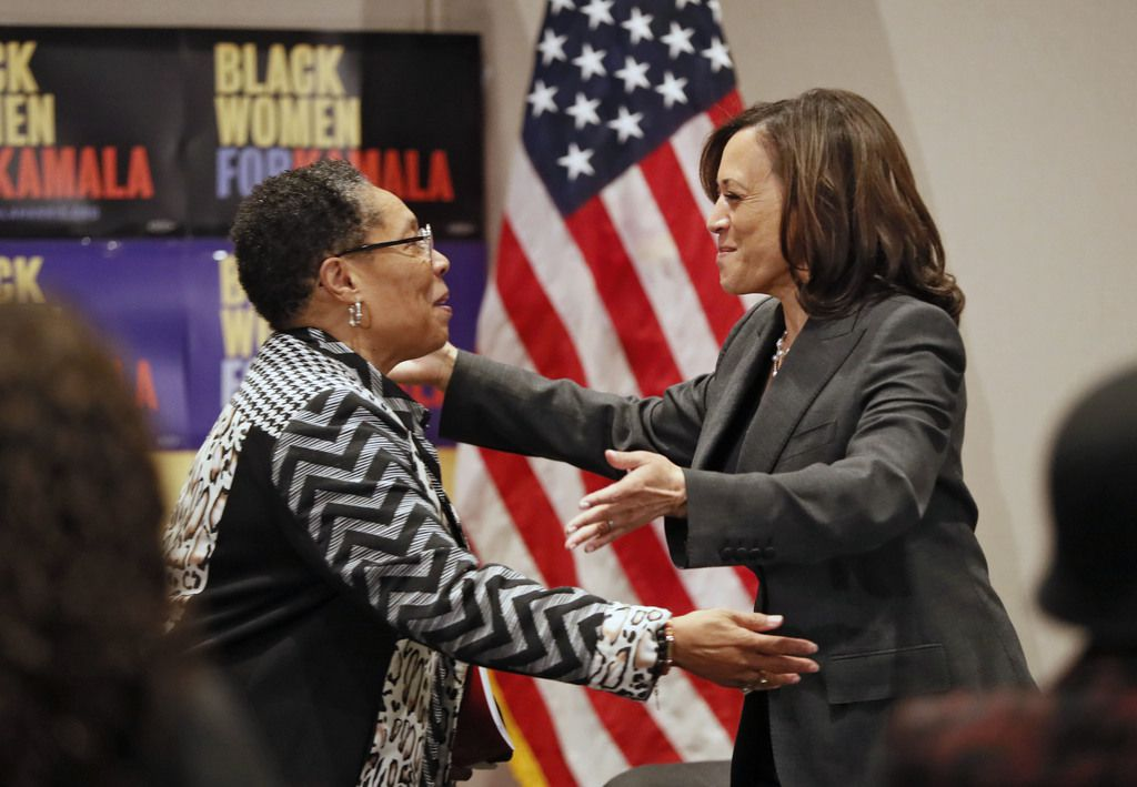 Sen. Kamala Harris is welcomed by U.S. Rep. Marci Fudge, left, as she headlined a Black Women's Power Breakfast co-hosted by Higher Heights and The Collective PAC at the Westin Atlanta on Nov. 21, 2019, the morning after the fifth Democratic presidential debate.
