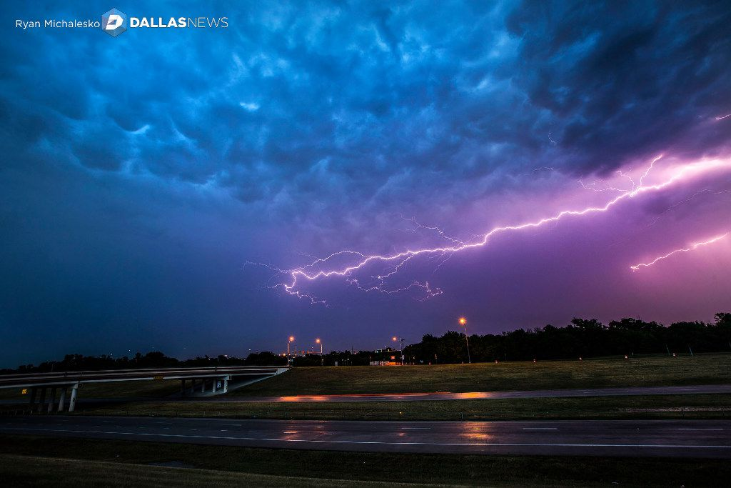 Lightning bolts fill the sky over highway 360 near Euless, Texas on Friday, June 2, 2017.