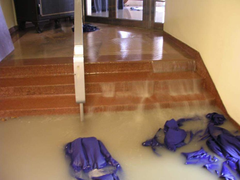 Flooding earlier this year in the Hall of State building at Fair Park.
