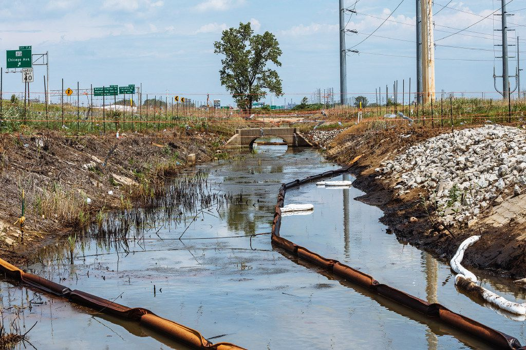 Contaminated water runs toward the Grand Calumet River and Lake Michigan, the source of drinking water for East Chicago, Ind.