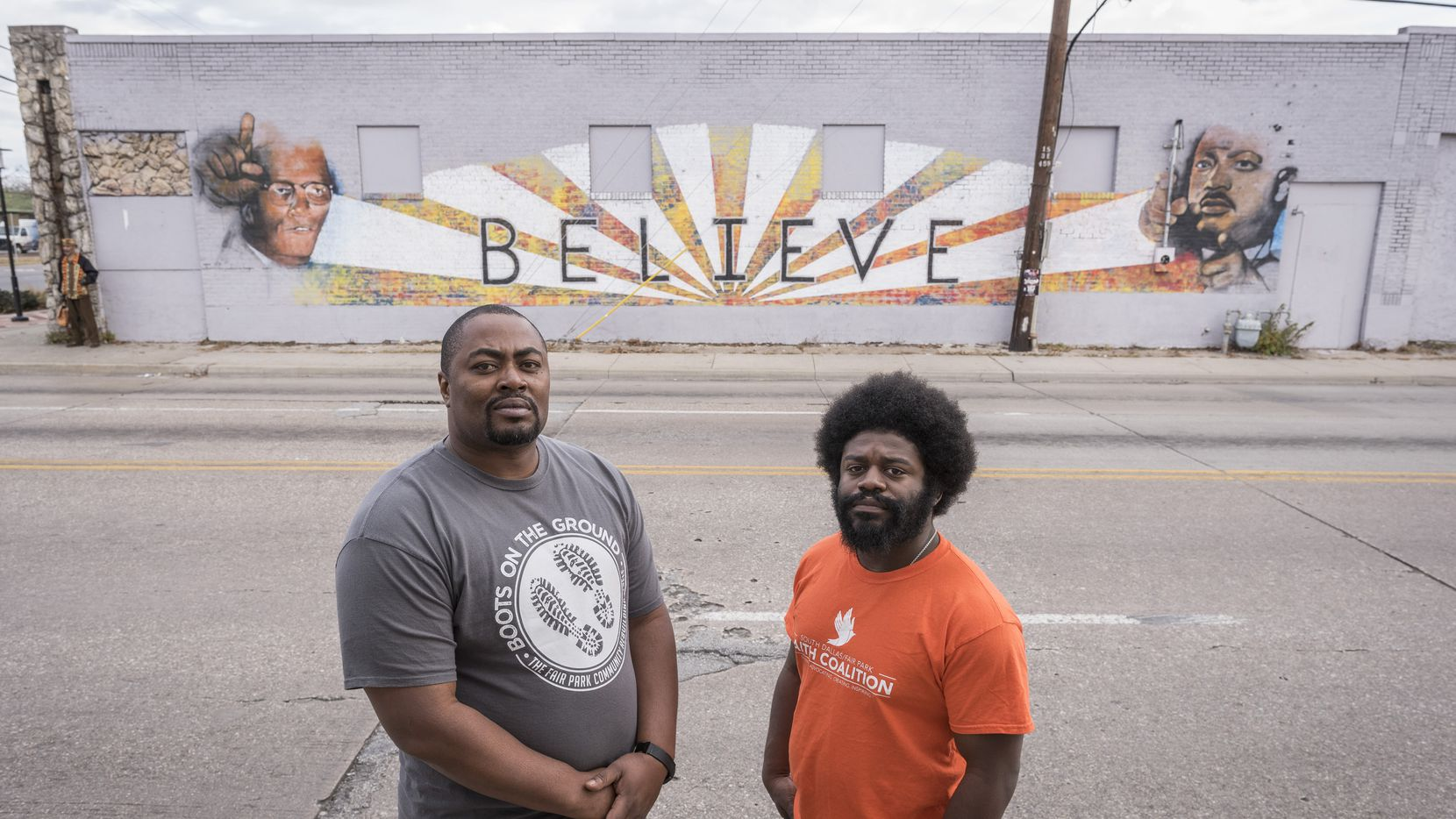 Jay Scroggins, left, and Rev. George Battle III plan to open the Fair Park District Entrepreneur Center in the building in the background at Martin Luther King Jr. Blvd. and Malcom X Blvd.  The goal of the center is to provide tools to local residents whoÕd like to grow their business and to create entrepreneurs who help meet the neighborhoodÕs needs   (Rex C. Curry/Special Contributor)