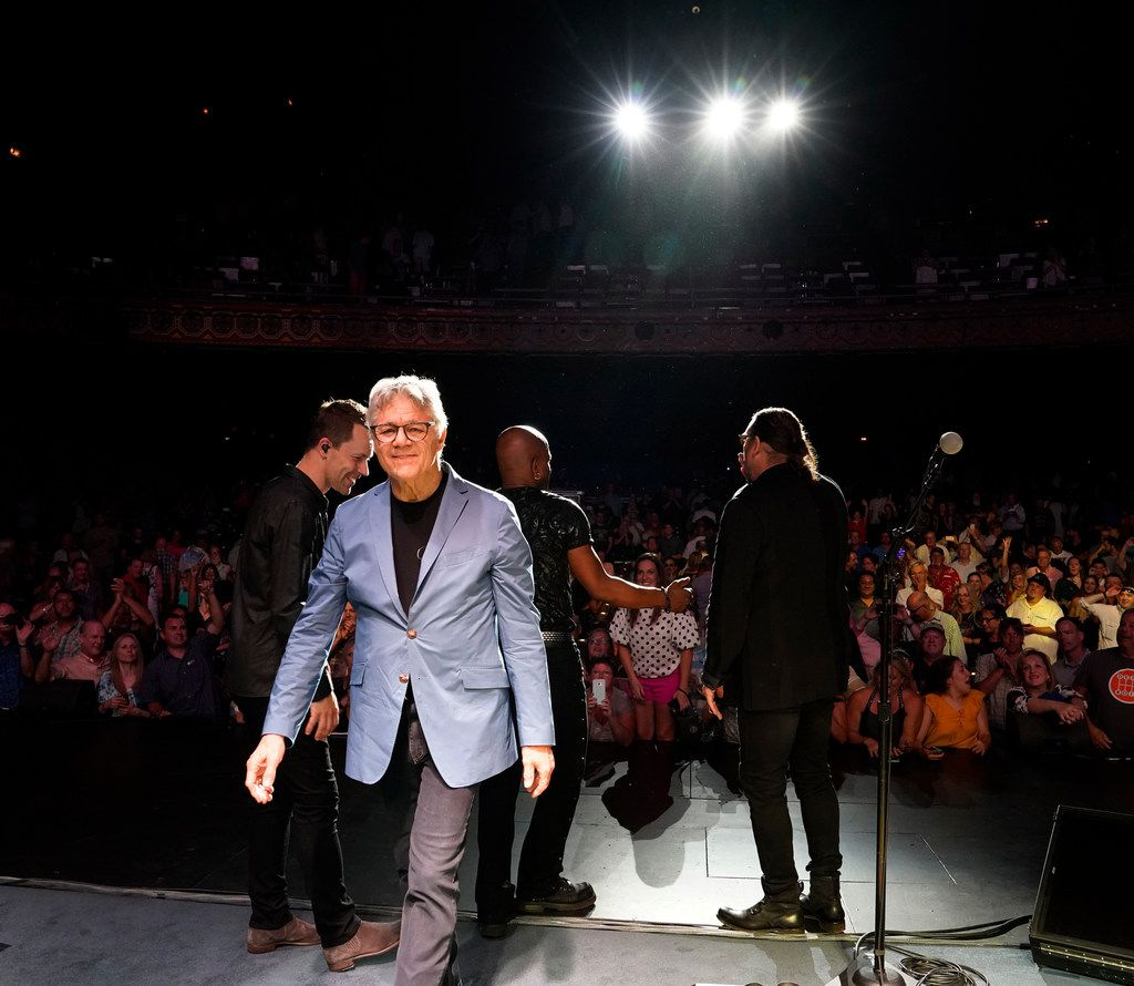 Steve Miller, of the Steve Miller Band, center, walks off the stage while some of his band members acknowledges the crowd after their concert at the Majestic Theatre in San Antonio, Texas, Wednesday, July 25, 2018. Steve is currently on his 50th Anniversary Tour and will perform at the Allen Event Center in Allen, Friday, July 27, 2018. (David Woo Photo)