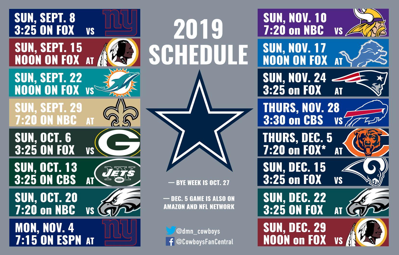 Dallas Cowboys Schedule 2020.2019 Cowboys Schedule Dallas Hosts Giants In Opener