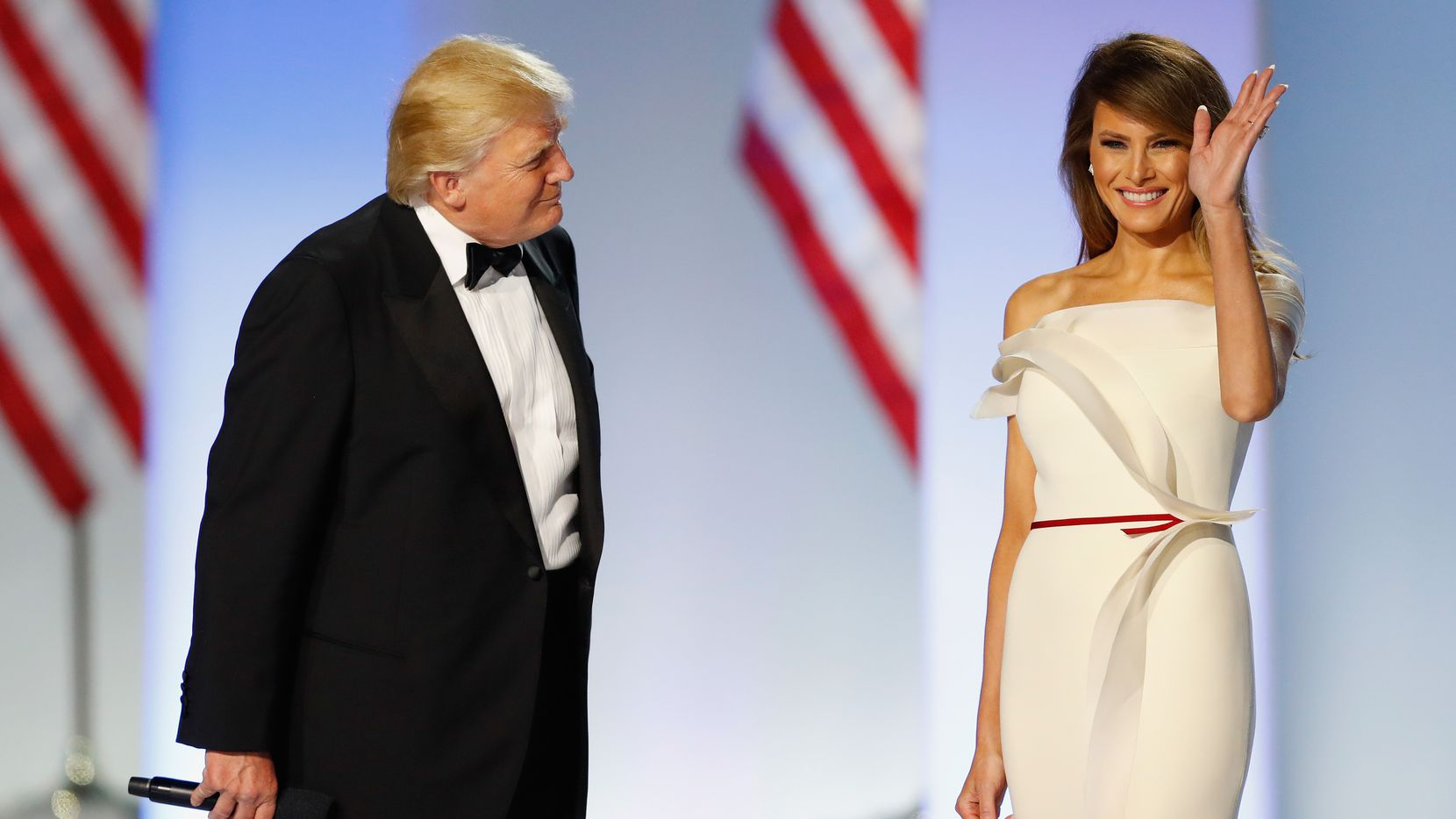 WASHINGTON, DC - JANUARY 20:  President Donald Trump introduces first lady Melania Trump at the Freedom Inaugural Ball at the Washington Convention Center January 20, 2017 in Washington, D.C.  President Trump was sworn today as the 45th U.S. President.  (Photo by Aaron P. Bernstein/Getty Images) *** BESTPIX ***