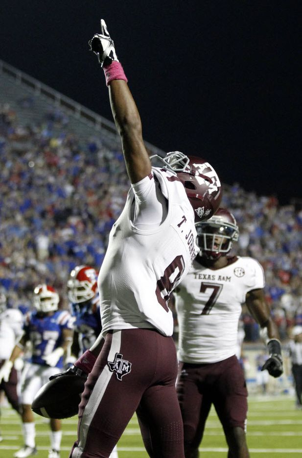 Thomas Johnson celebrated after scoring a touchdown at the Independence Bowl in Shreveport in 2012.