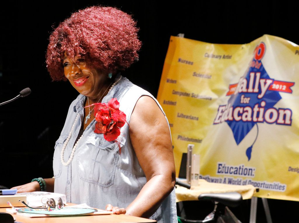 Fort Worth attorney Bobbie Edmonds, founder of the Rally For Education, introduces guest speakers to students during the 25th Annual Rally for Education at Jean McClung Middle School in Fort Worth on June 15, 2017.
