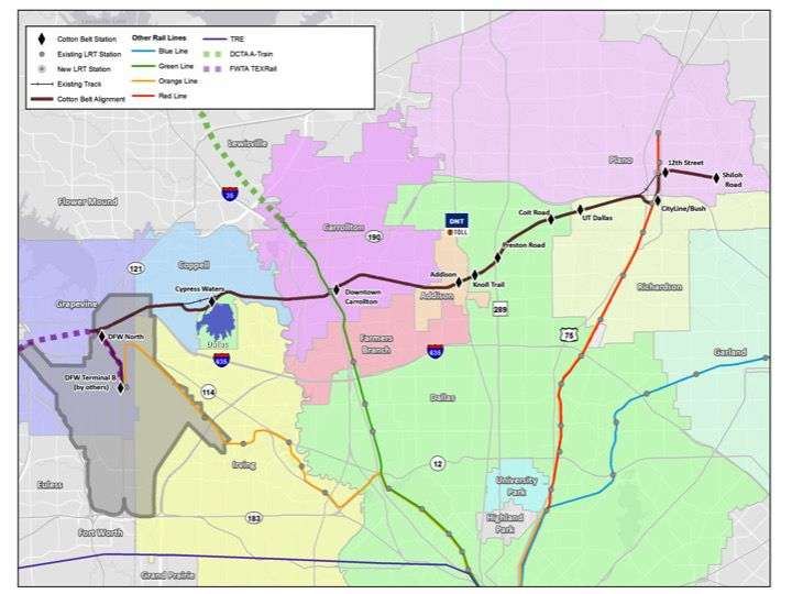 The Dallas Area Rapid Transit plan is for the city of Dallas (in green) to have four stops along the Cotton Belt line. The city, however, wants to eliminate both the Preston Road and Coit Road stations.