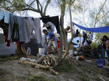 El campamento de migrantes en  Matamoros, México, que han peticionado asilo en Estados Unidos.