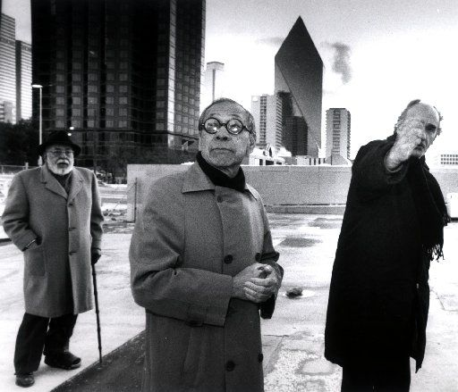 (l-r) Stanley Marcus of Dallas,  I.M. Pei, architect of the Meyerson Symphony Hall and Eduardo Chillida, internationally reowned Basque sculptor a the Myerson Symphony Hall inspecting site for the installation of Chillida sculpture.