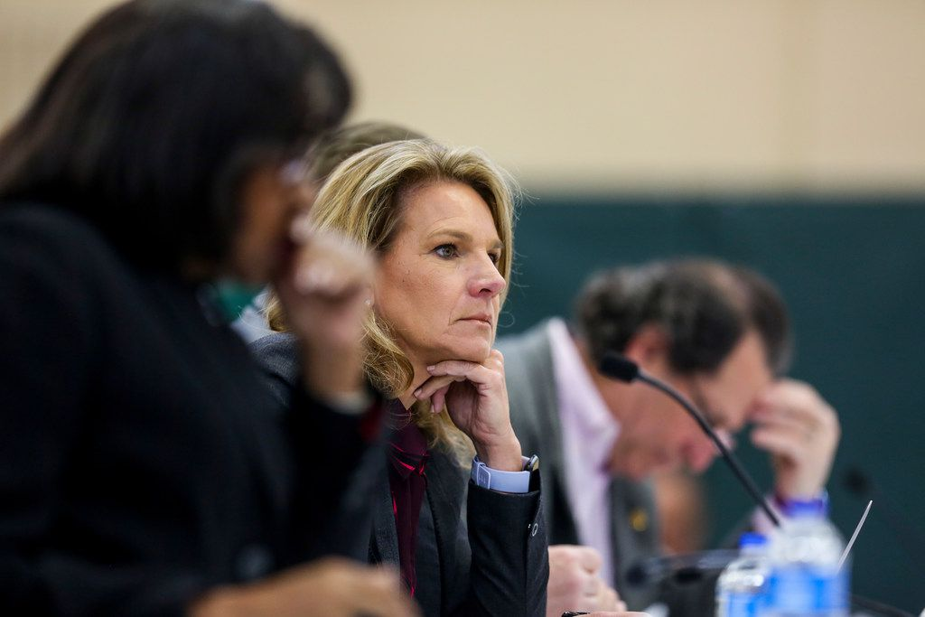 Dallas City Council member Jennifer Staubach Gates listens during a Dallas City Council meeting at Park In the Woods Recreation Center in Dallas.