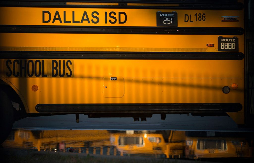 A Dallas Independent School District school bus parked at the district's bus lot in Dallas on Sunday, December 9, 2018. (Daniel Carde/The Dallas Morning News)