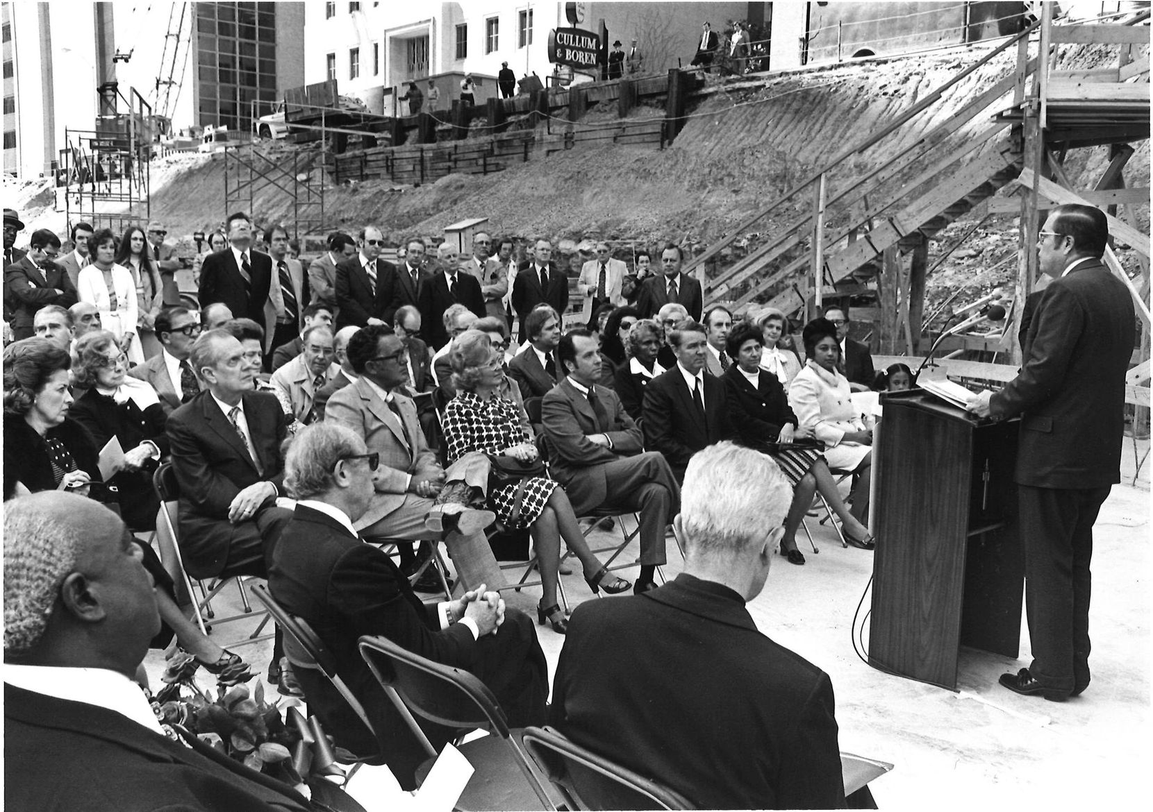 Thanks-Giving Square's dedication with Gov. Dolph Briscoe was held in 1975.