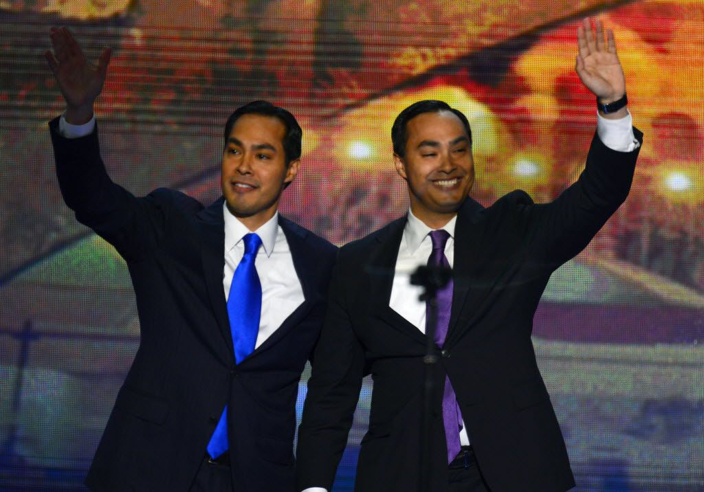 Mayor Julian Castro of San Antonio, Texas, left, waves with his brother, Joaquin, who introduced him at the 2012 Democratic National Convention at the Time Warner Cable Arena in Charlotte, North Carolina, Tuesday, September 4, 2012. (Harry E. Walker/MCT) 09052012xBRIEFING