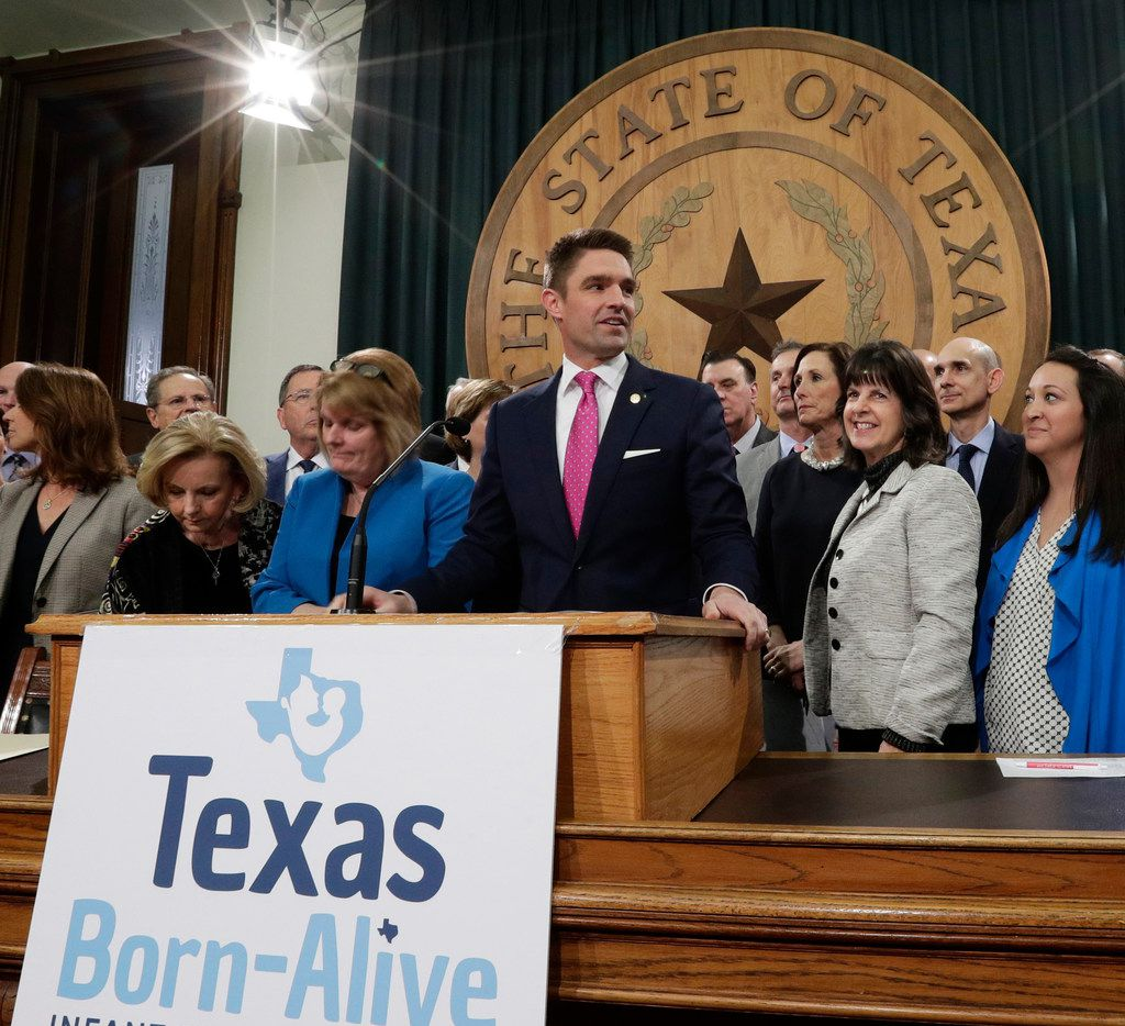 """Rep. Jeff Leach of Plano, shown at lectern in the Speaker's Committee Room in March, is author of the Texas """"Born Alive"""" bill, which the House sent to Gov. Greg Abbott on Thursday."""