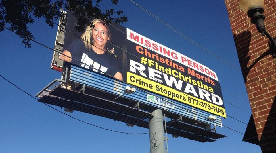 A Plano billboard advertises a reward in the missing persons case involving Christina Morris.