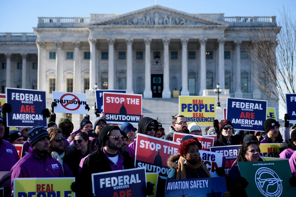Air traffic controllers and airline industry officials demanded an end to the government shutdown during a rally Thursday outside the Capitol.