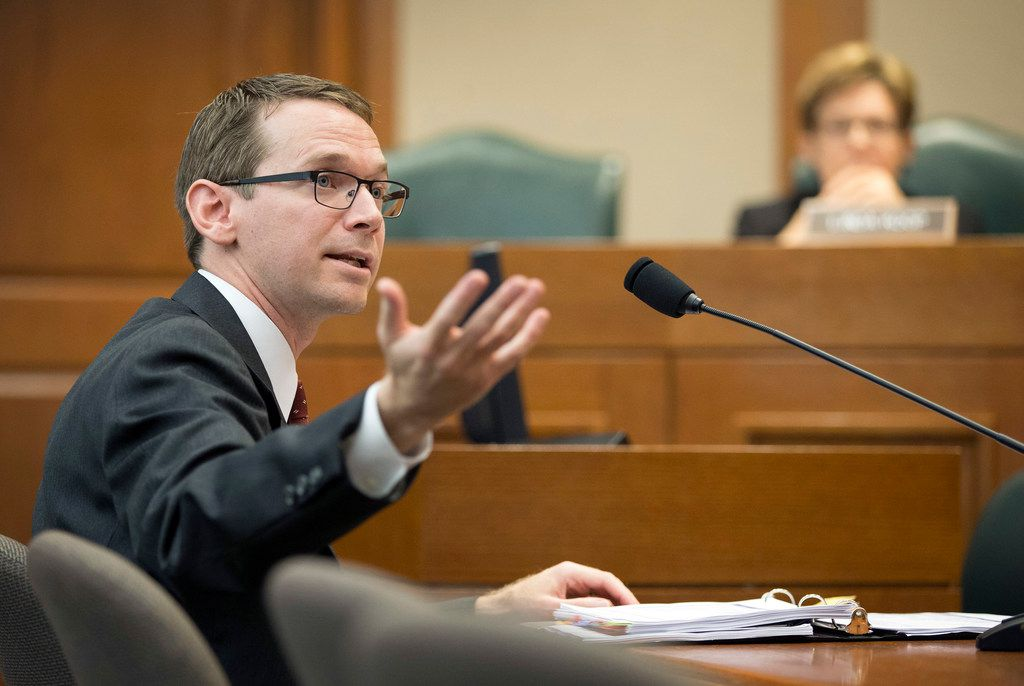 Texas Education Agency Commissioner Mike Morath speaks at a House Public Education Committee hearing about Hurricane Harvey's impact on schools.