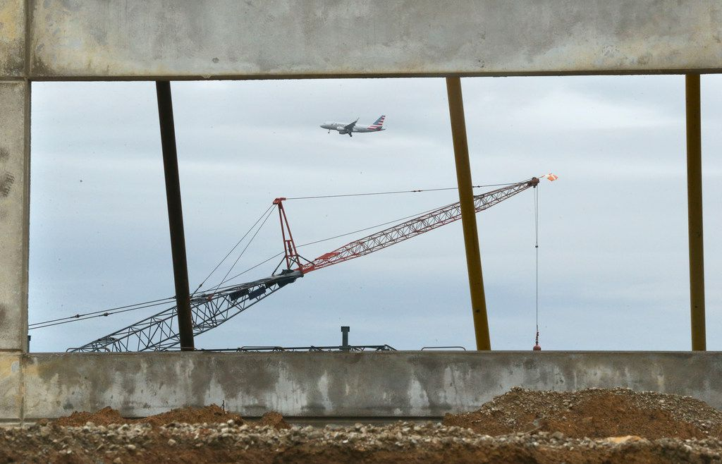 A warehouse was under construction along the north side of State Highway 183 between Valley View Lane and County Line Road at the south end of Dallas-Fort Worth Airport in Irving on Oct. 17, 2018.