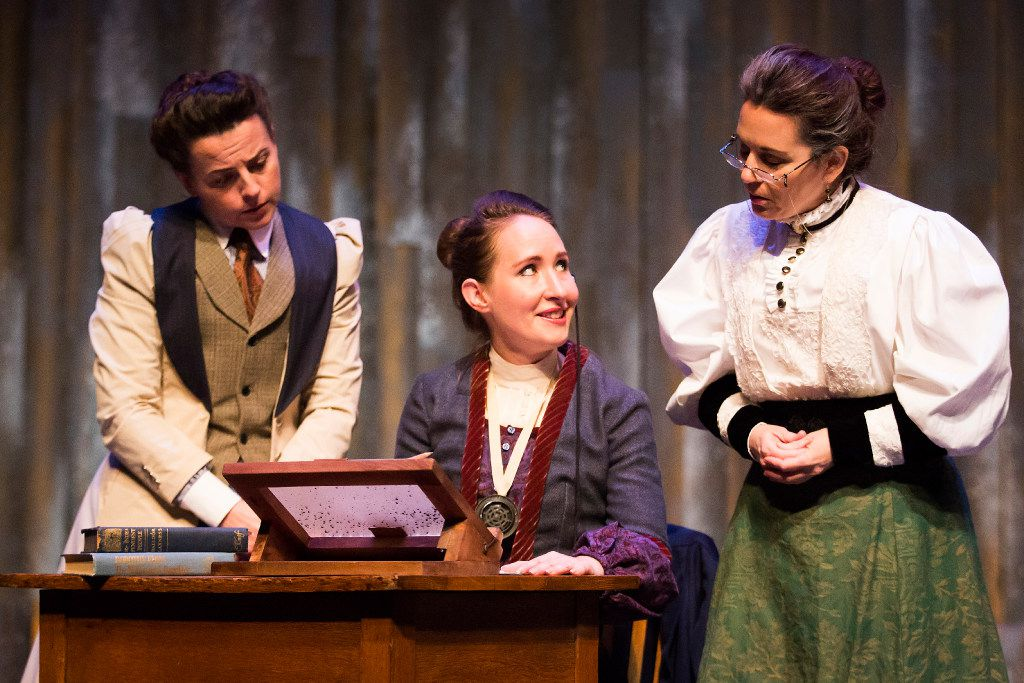 Anastasia Munoz as Henrietta Leavitt (seated), with Marianna Galloway as Annie Cannon (left)  and Shannon J. McGrann as Williamina Fleming, performs in a WaterTower Theatre production of Silent Sky in Addison.