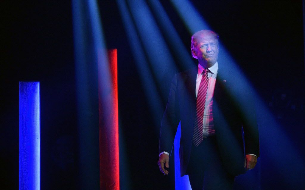Republican presidential candidate Donald Trump speaks during a campaign rally at the TD Convention Center in Greenville, S.C., on Monday, Feb. 15, 2016. (Olivier Douliery/TNS)