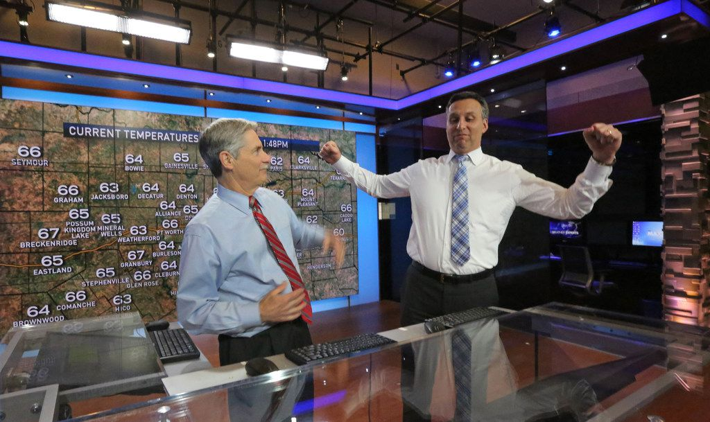 As David Finfrock (left) steps away from the chief meteorologist role, Rick Mitchell steps in.