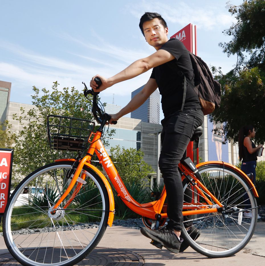 Euwyn Poon, co-founder and president of Spin, said Dallas is a great market because it doesn't have a city-run bike-share program, but has city officials who like the idea. (Ron Baselice/The Dallas Morning News)