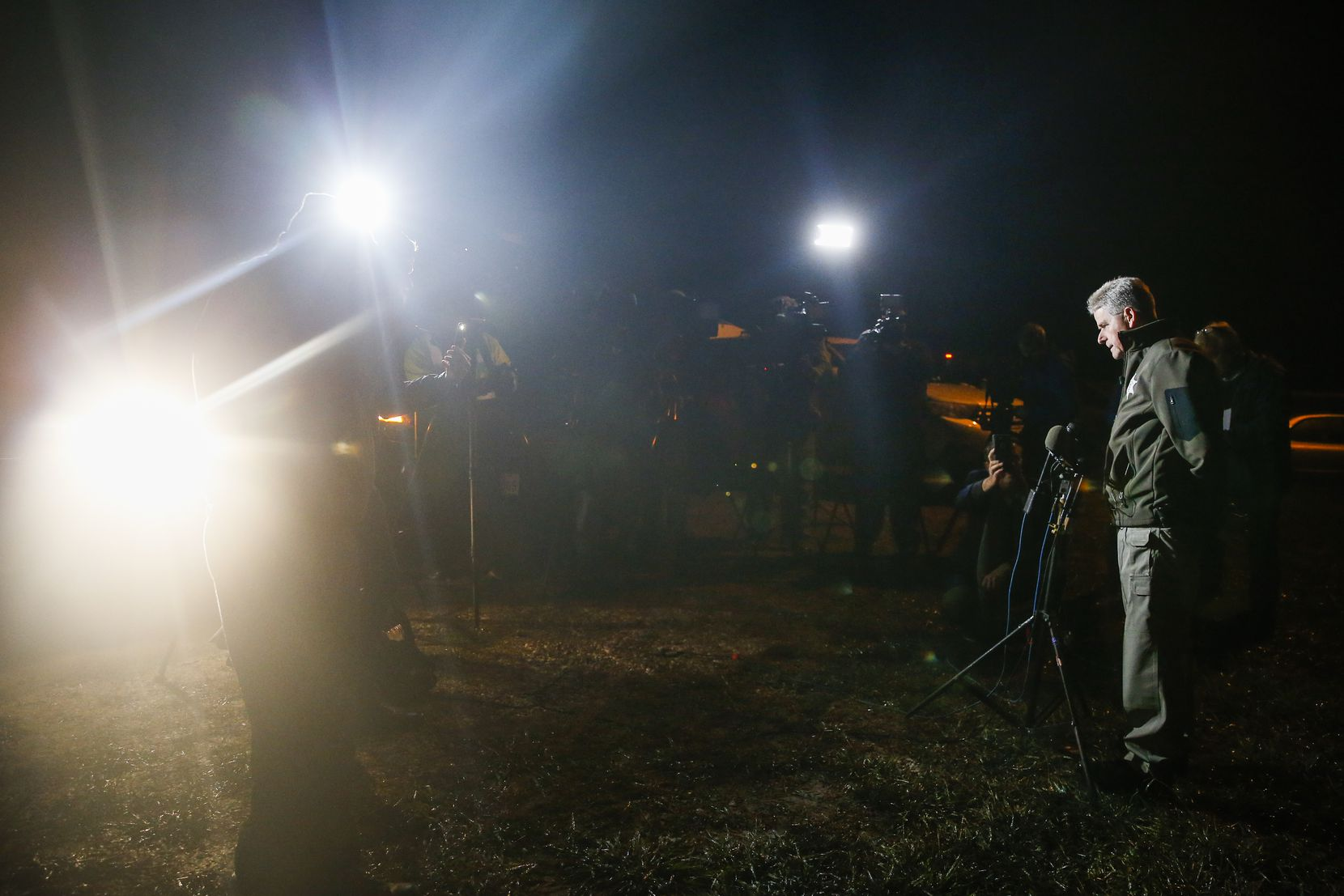 Chief Deputy Buddy Oxford of the Hunt County Sheriff's Department addresses members of the media outside of a crime scene after a shooting at Party Venue on Highway 380 in Greenville, Texas.
