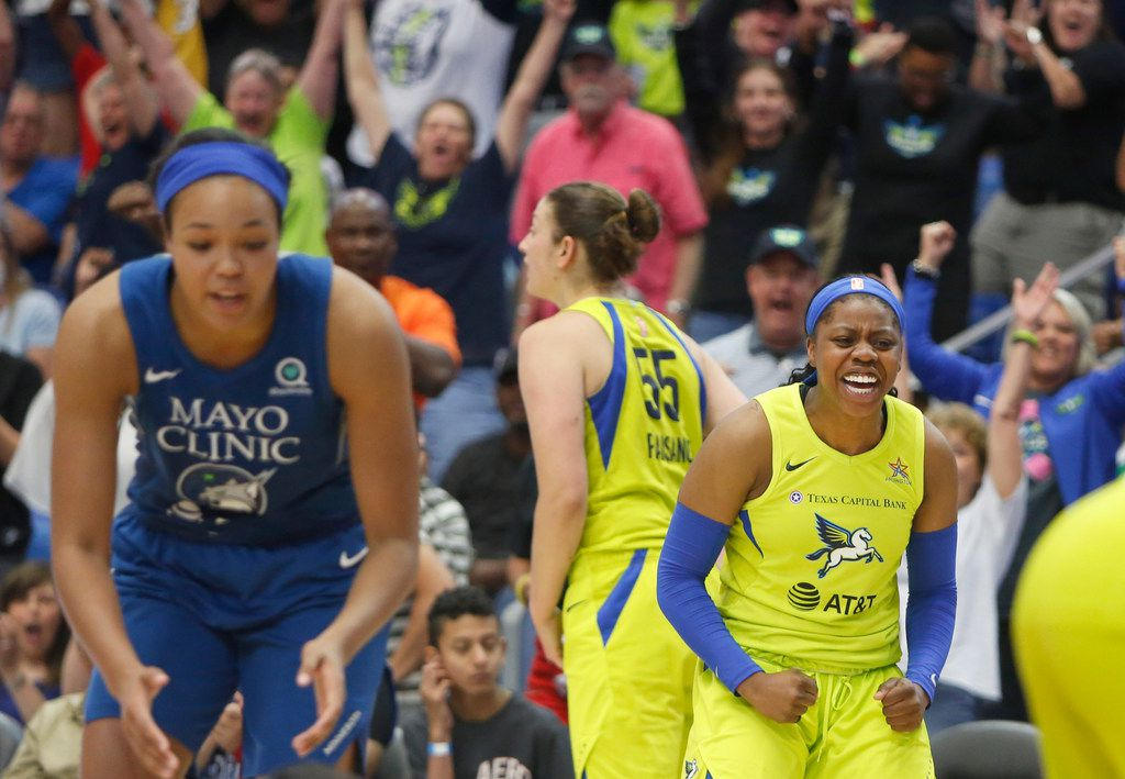 Dallas Wings guard Arike Ogunbowale (24) clenches her fist as she celebrates with teammates and fans after a turnover that preserved a 89-86 Wings victory over the Minnesota Lynx. The two teams played their WNBA game at UT-Arlington's College Park Center in Arlington on June, 30, 2019. (Steve Hamm/ Special Contributor)