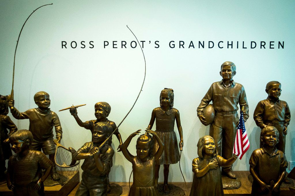 Bronze casts of H. Ross Perot's grandchildren are seen during a tour of the new headquarters for The Perot Companies on Monday, March 20, 2017, in Dallas. (Smiley N. Pool/The Dallas Morning News)
